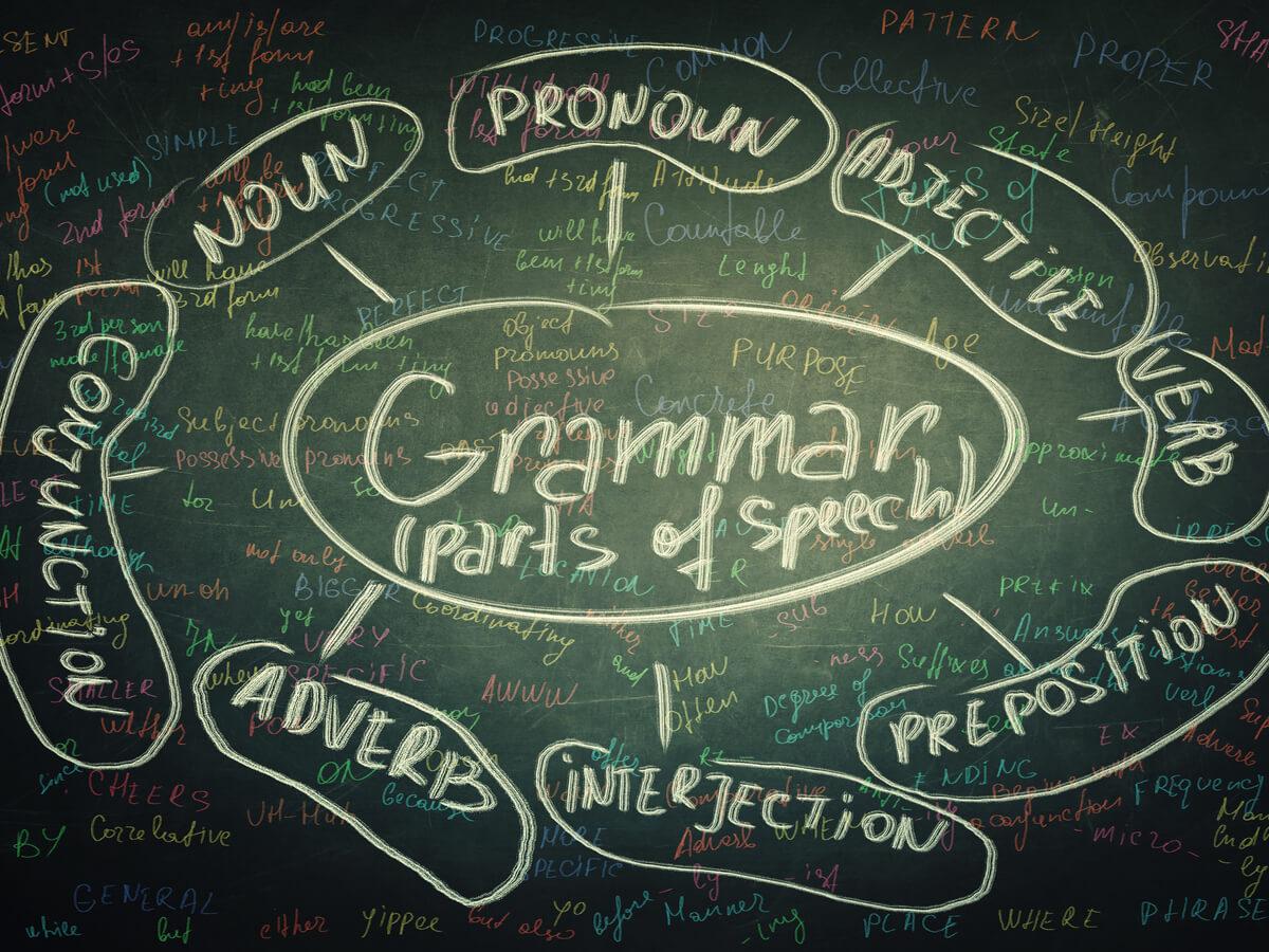 黒板に書かれたGrammarの文字